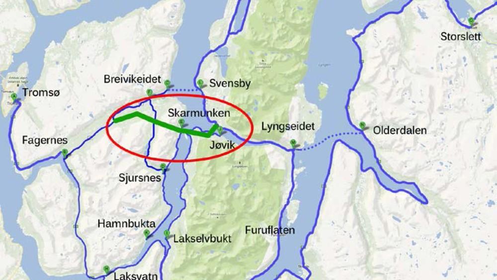 holmbuktura kart Ny FV 91 – fergefri forbindelse over Ullsfjorden. – SJURSNESNYTT holmbuktura kart